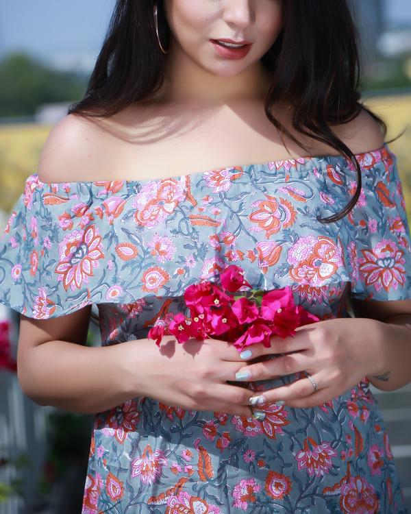 Off shoulder block printed dress 1