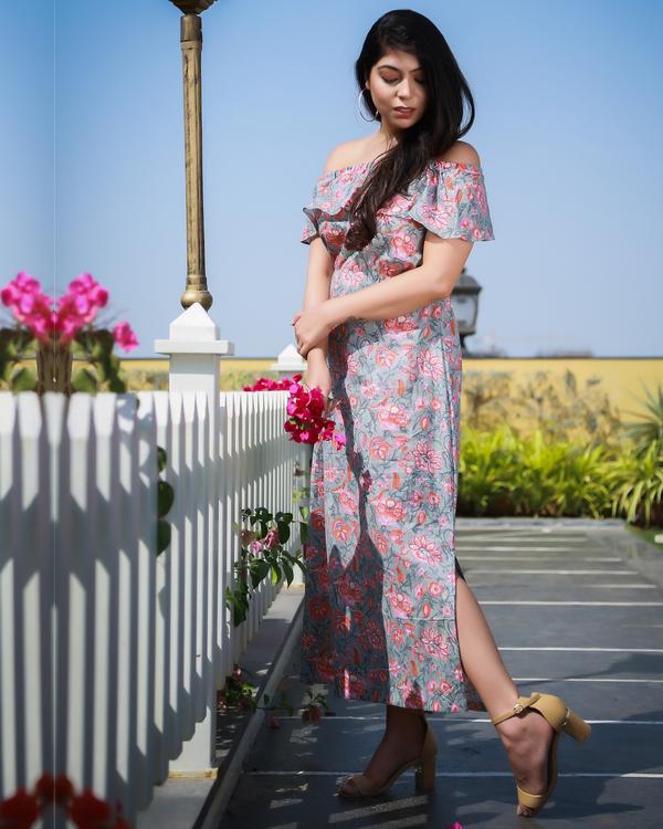 Off shoulder block printed dress 2