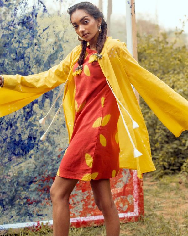Bright yellow bandhej jacket 1