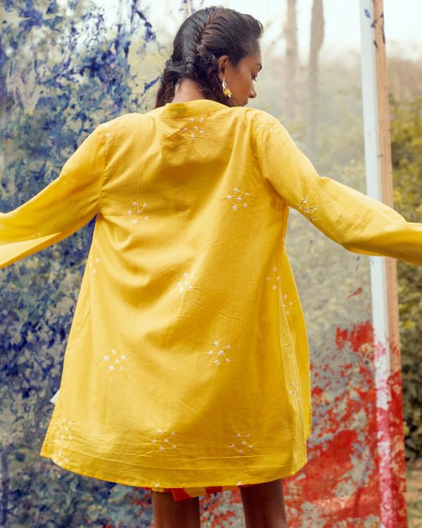 Bright yellow bandhej jacket 2