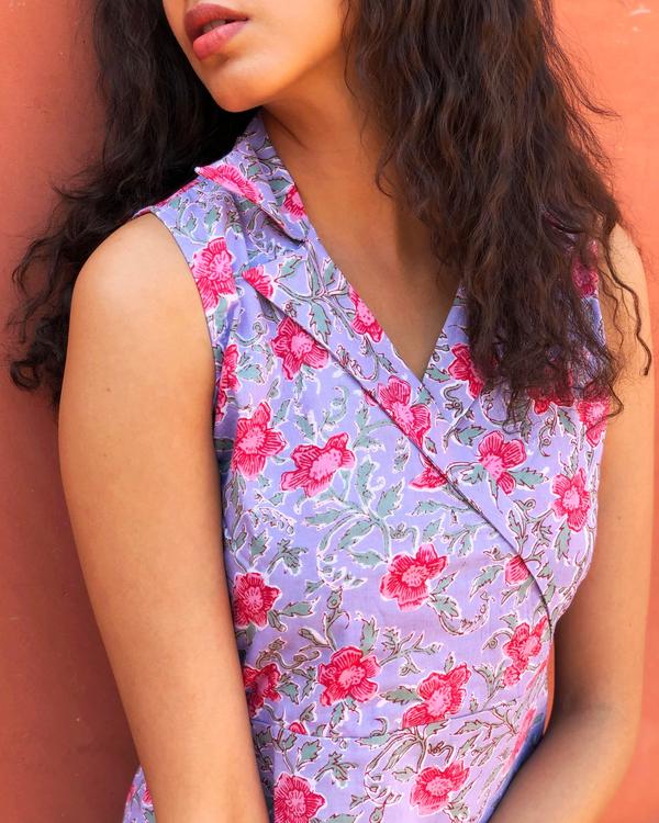 Opera mauve floral printed tunic 1