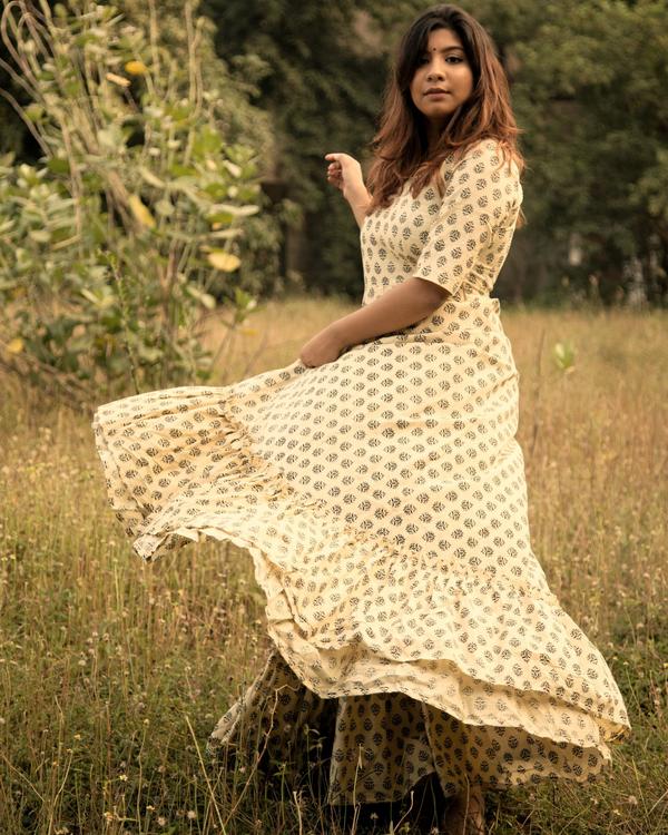 Cream block printed flared dress 1