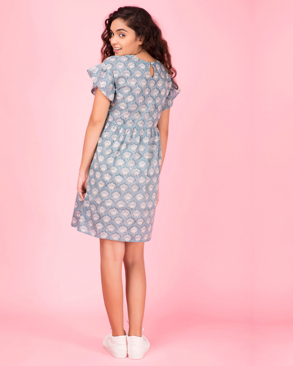 Blue printed ruffled dress 1