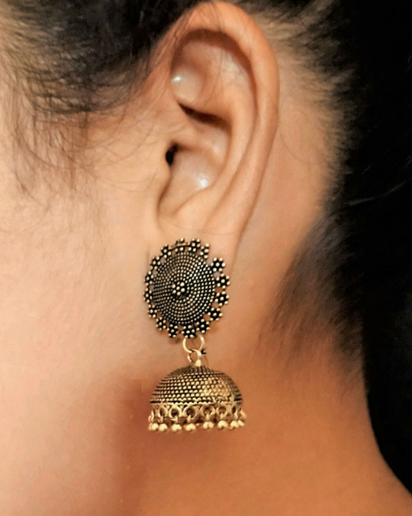Oxidised golden jhumkas 1