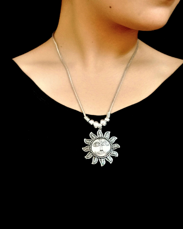 Silver sun pendant necklace 1