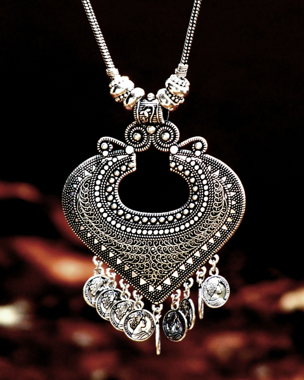 Silver hanging coins necklace 1