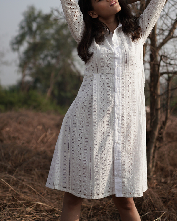 Cotton white shirt dress 2