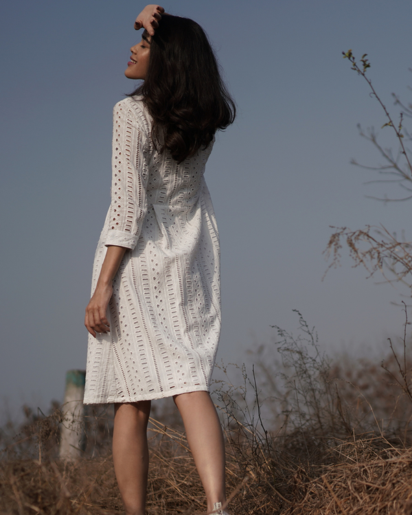 Cotton white shirt dress 1