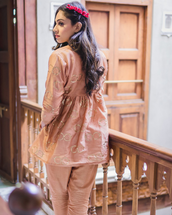 Nude pink chanderi flared top 2