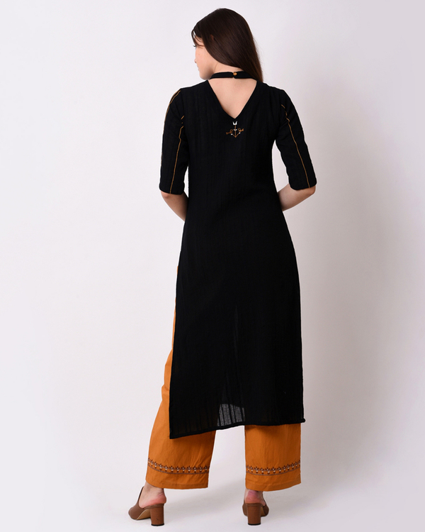 Cotton dobby black kurta set - Set of Two 3