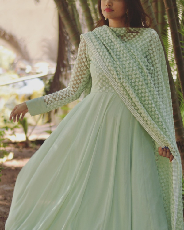 Georgette green star dress with dupatta - Set of two 1