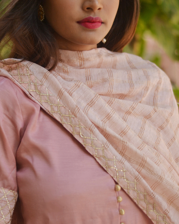 Pink flared dress with dupatta - Set of two 1