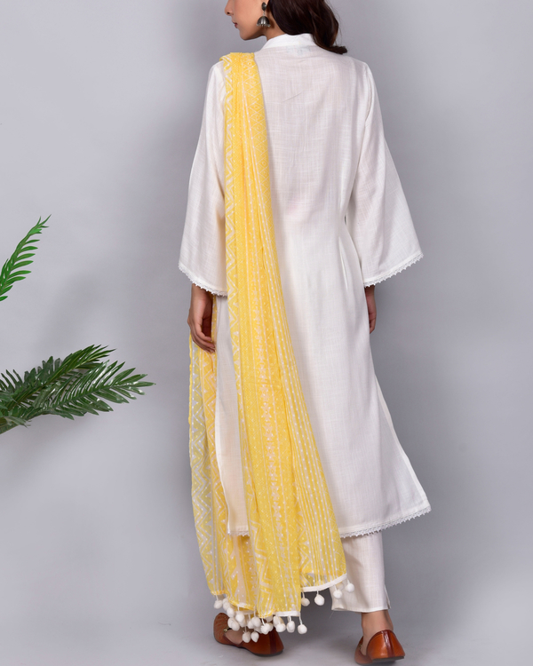 Cotton ivory suit with chiffon dupatta- set of three 2