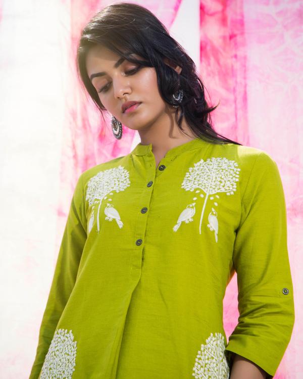 Lime Green Cotton kurta set- set of two 1