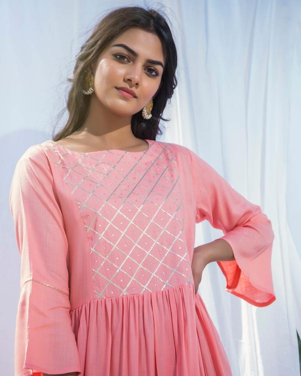 Peach pink frilled maxi dress 2