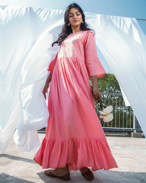 Peach pink frilled maxi dress 1