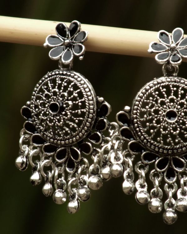 Black and silver flower earrings 1
