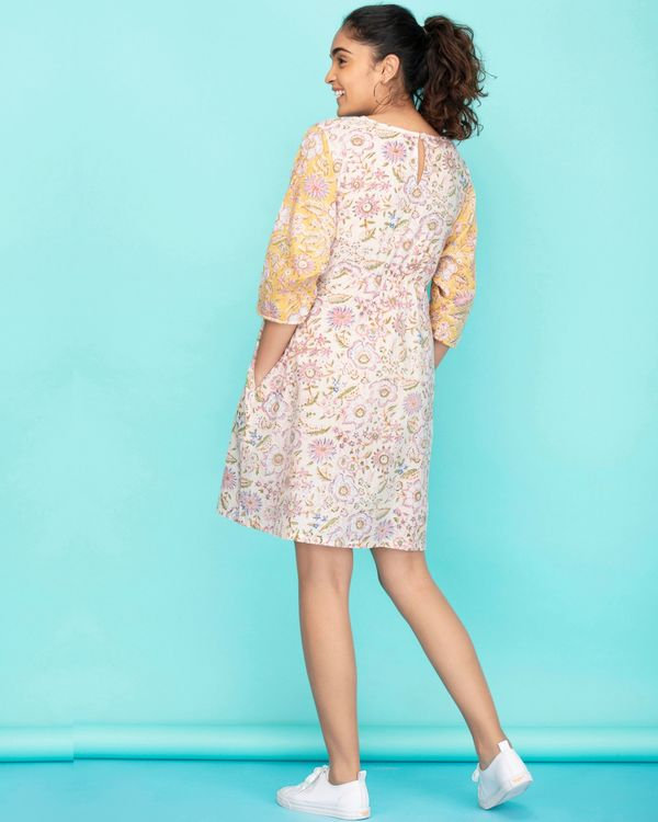 Dolman sleeves floral a-line dress 1