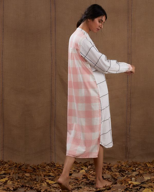 Ivory pink checks dress 2