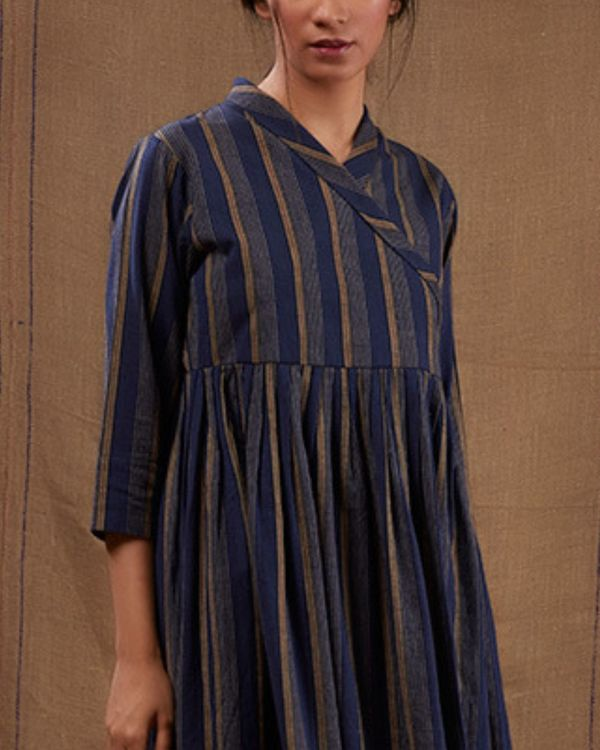 Blue cotton striped flared dress 1