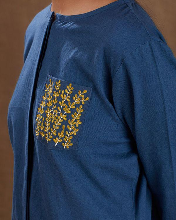 Indigo khadi embroidered pocket kurta 1