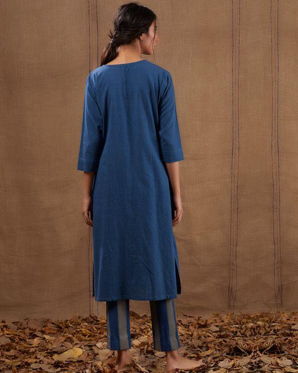 Indigo khadi embroidered pocket kurta 2