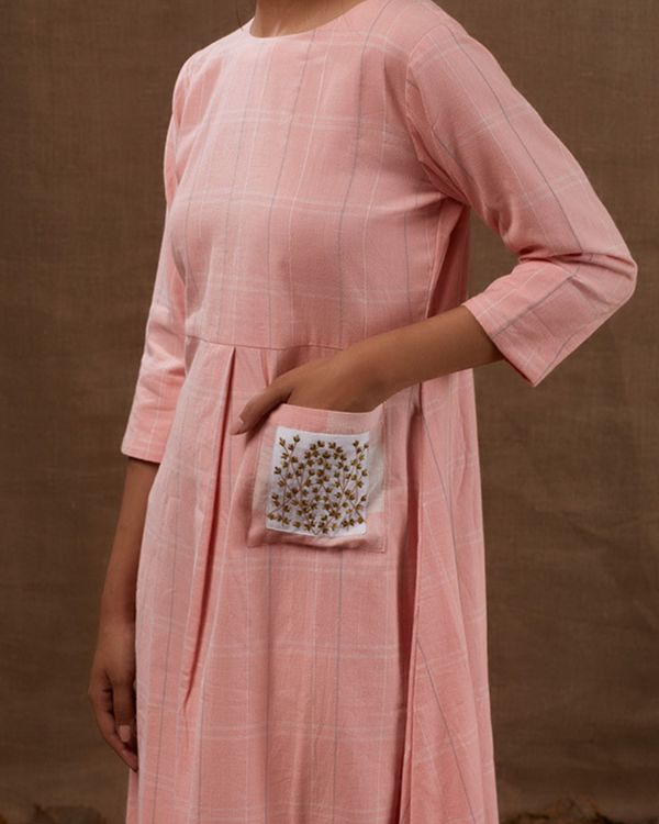 Pink embroidered checks dress 1