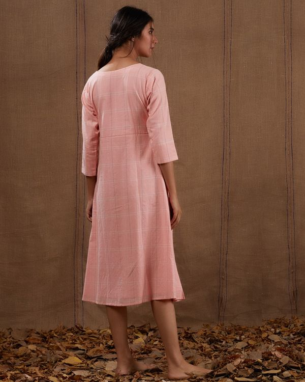 Pink embroidered checks dress 2