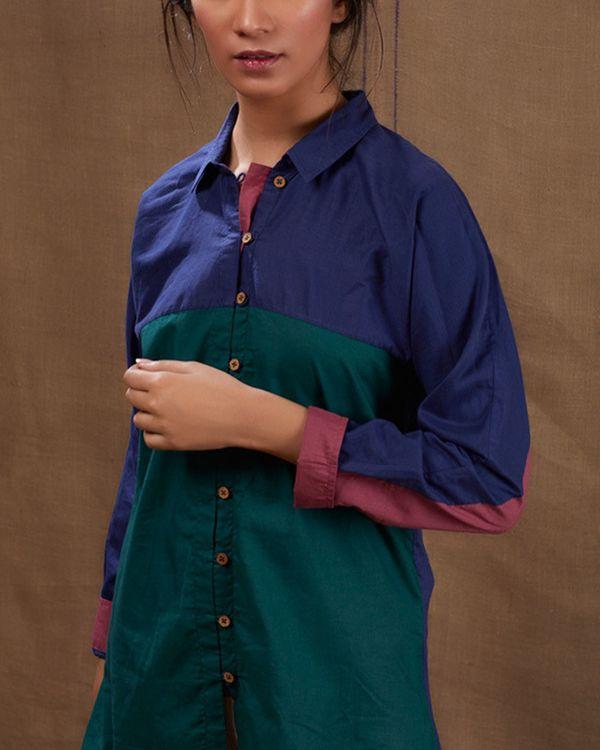 Cotton blue-green shirt 1