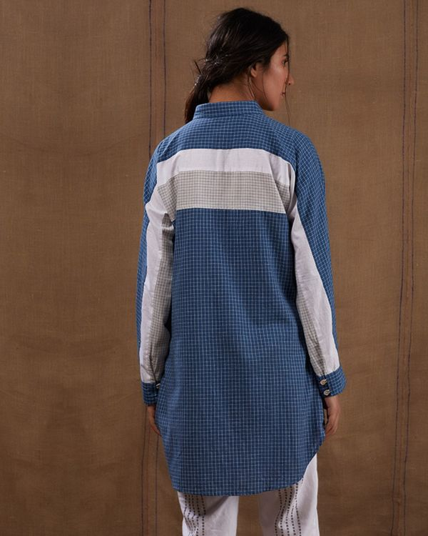 Cotton blue-white checks shirt 1