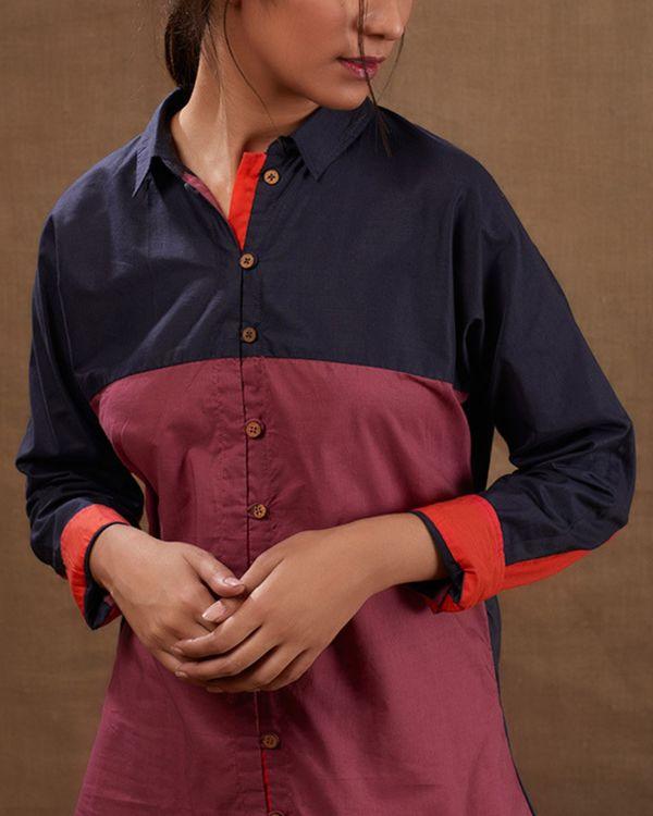 Cotton blue-pink shirt 1