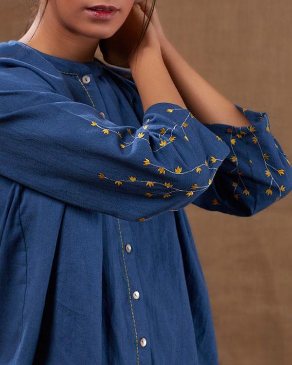 Indigo embroidered cotton top 1