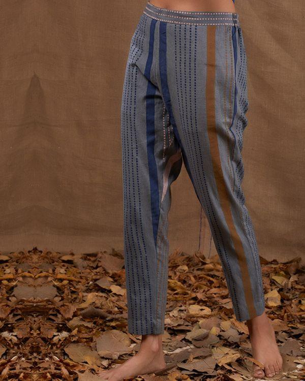 Blue stripes khadi pant 1