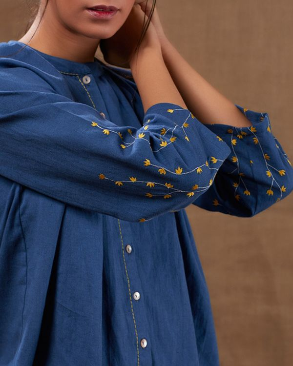 Indigo cotton embroidered top with pants - set of two 1