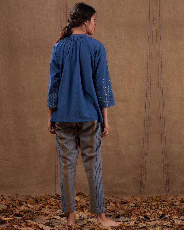 Indigo cotton embroidered top with pants - set of two 3