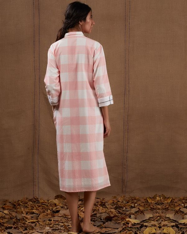 Pink high low cotton dress 1
