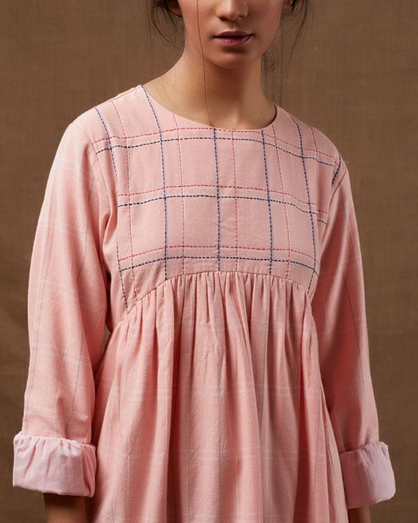 Pink checks gathered dress 2