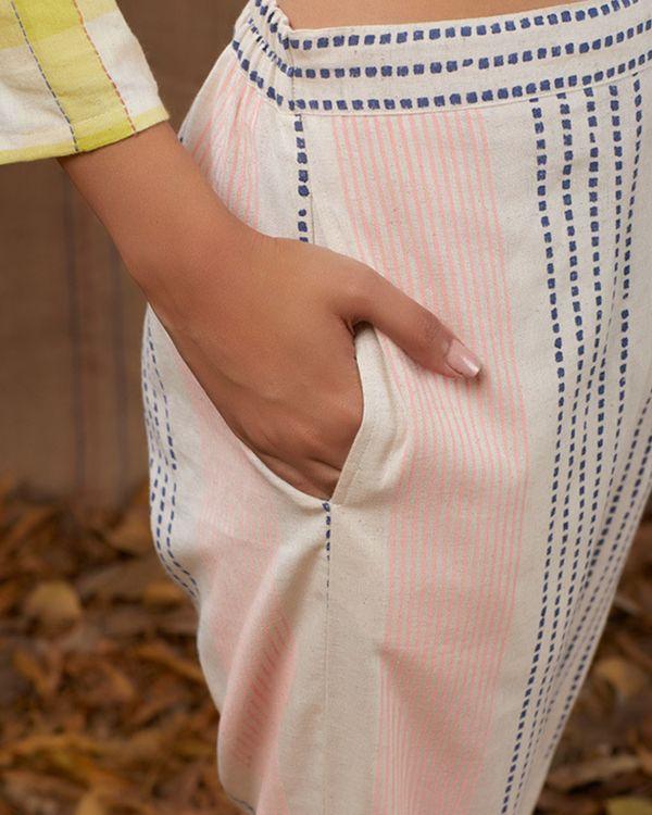 Ivory and pink block print pants 1