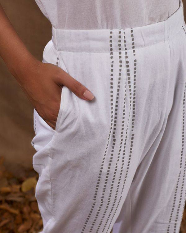 Ivory block printed straight pants 1