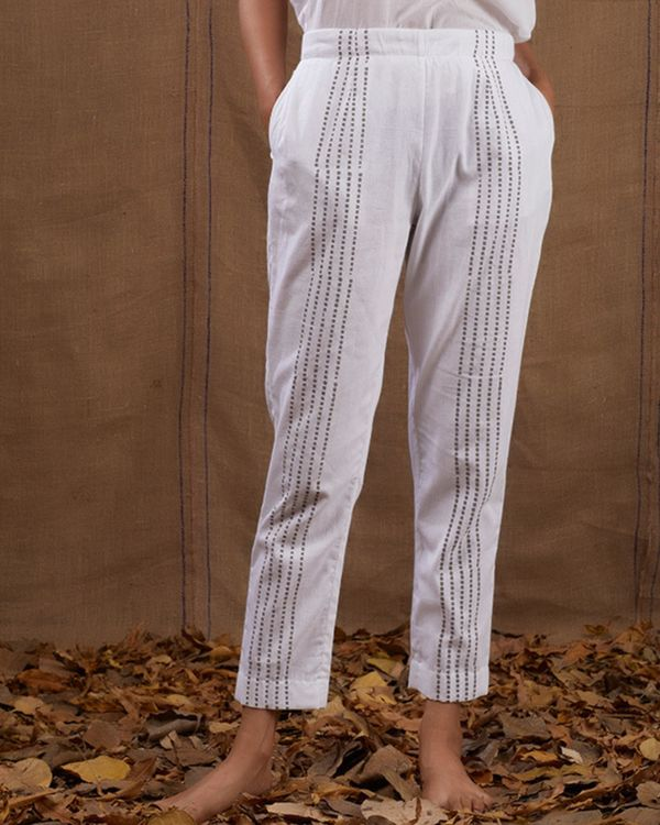 White checks flared jacket set - set of three 3