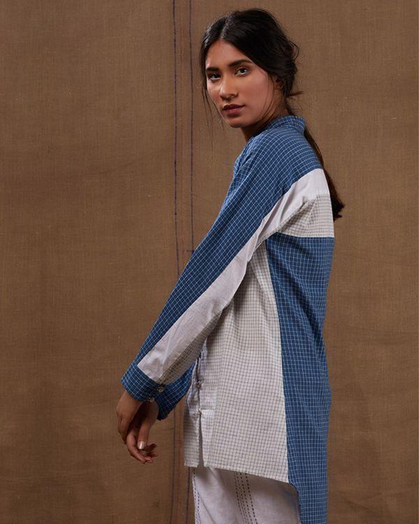 Cotton blue-white checks shirt with pants - Set of two 2