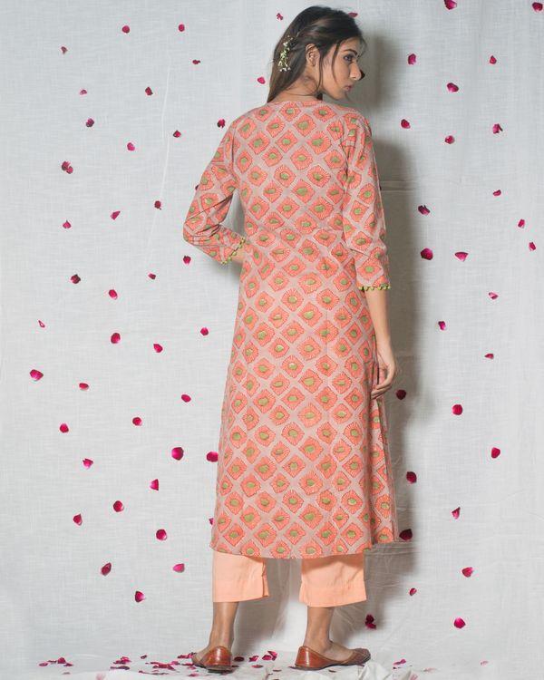 Peach block printed cape top set - set of three 1