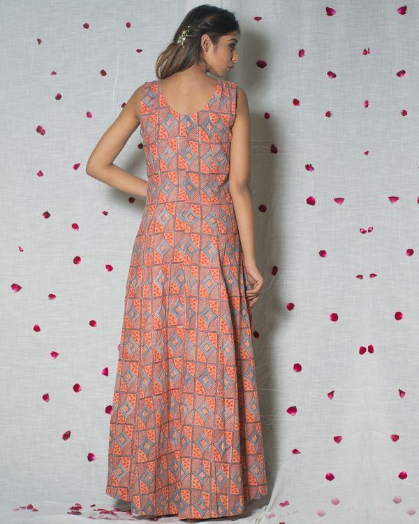 Printed peach maxi dress 1