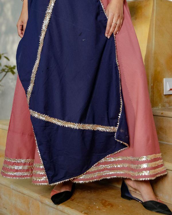 Blush pink gota detailed dress with dupatta - set of two 1