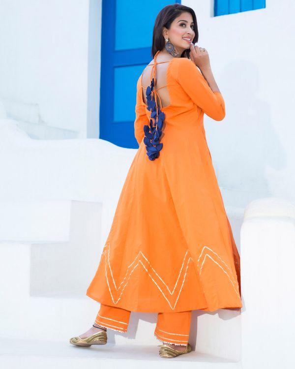 Orange gota flared kurta set with dupatta - set of three 1
