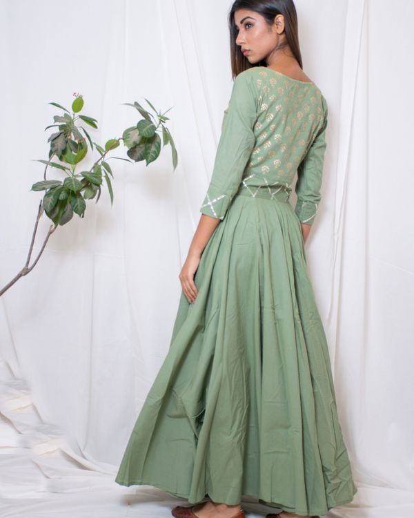 Olive green gown with gota belt 1