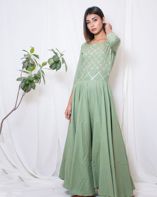 Olive green gown with gota belt 3