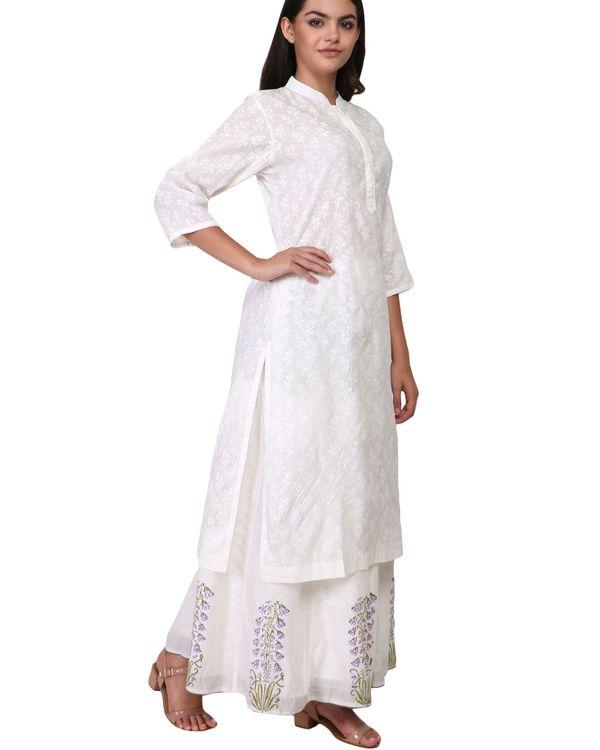 White floral print cotton kurta 2