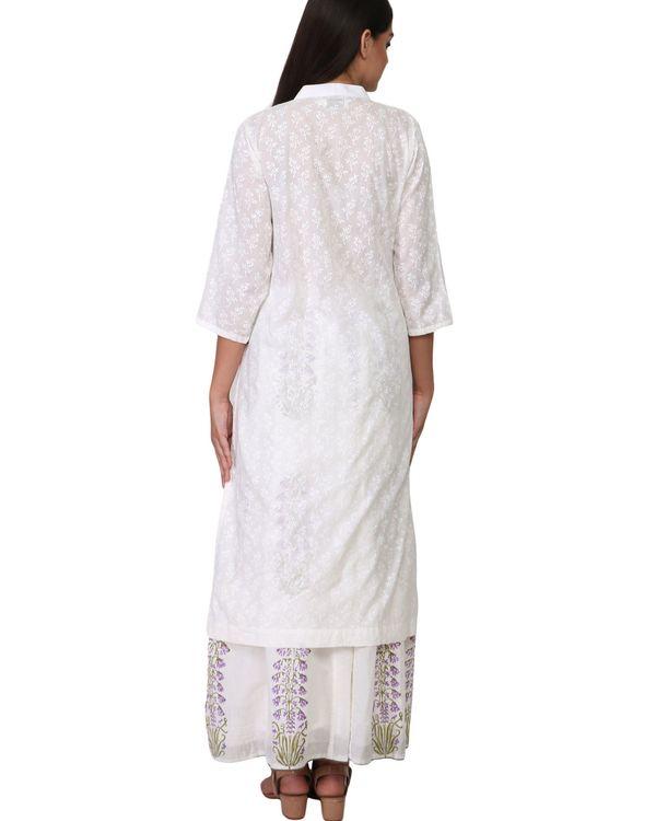 White floral print cotton kurta 1