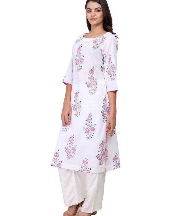 Pink and black floral print white cotton kurta 2